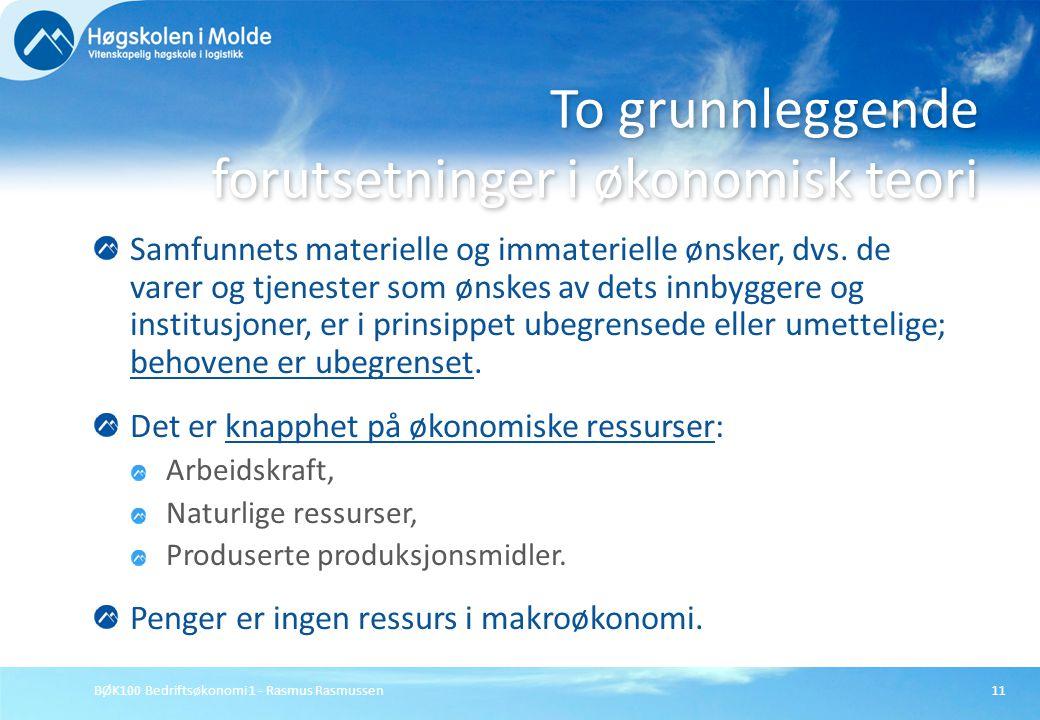 BØK100 Bedriftsøkonomi 1 - Rasmus Rasmussen11 Samfunnets materielle og immaterielle ønsker, dvs. de varer og tjenester som ønskes av dets innbyggere o