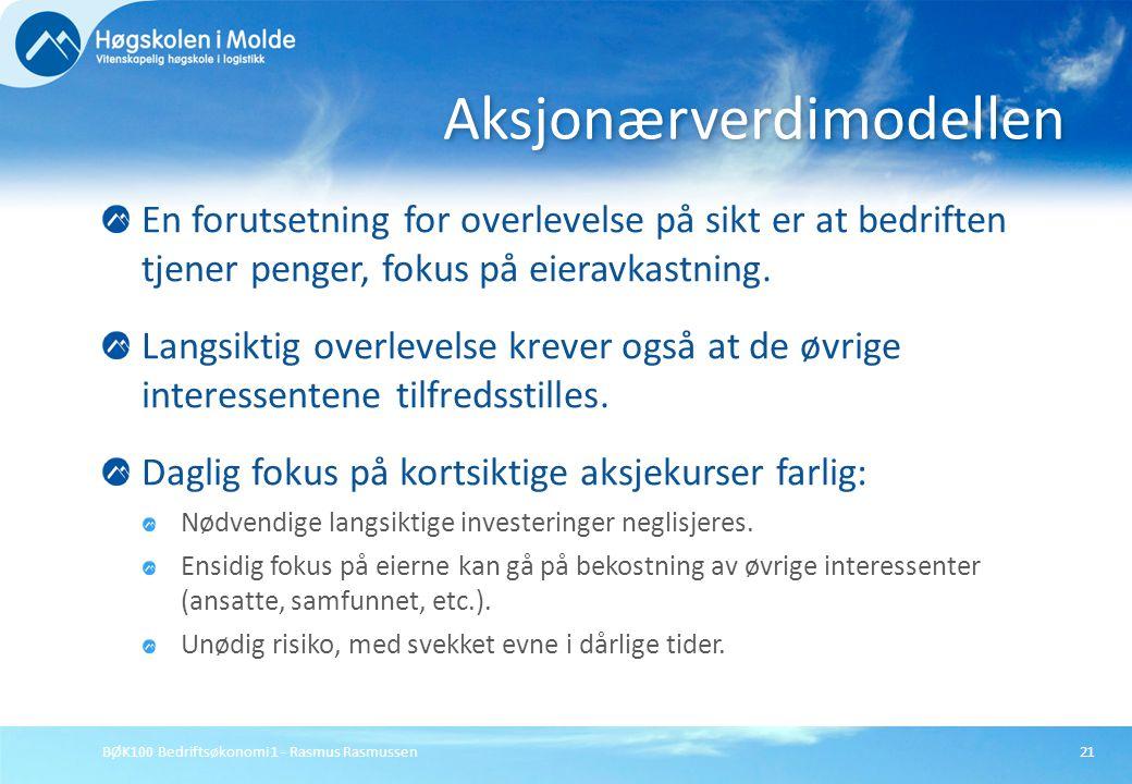 BØK100 Bedriftsøkonomi 1 - Rasmus Rasmussen21 En forutsetning for overlevelse på sikt er at bedriften tjener penger, fokus på eieravkastning. Langsikt