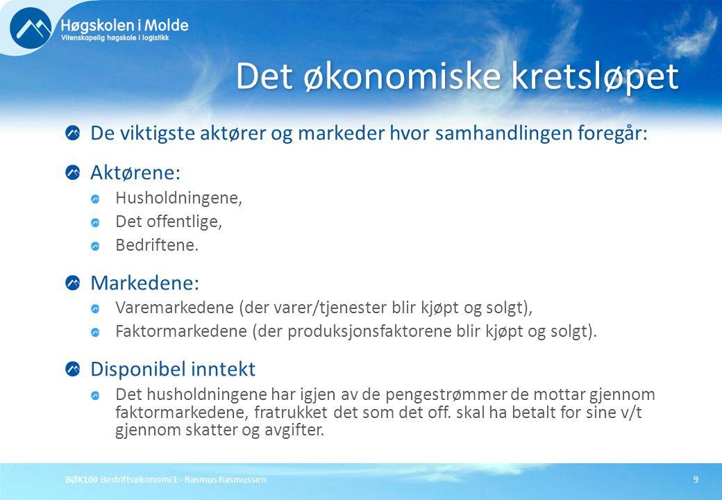 BØK100 Bedriftsøkonomi 1 - Rasmus Rasmussen9 De viktigste aktører og markeder hvor samhandlingen foregår: Aktørene: Husholdningene, Det offentlige, Be