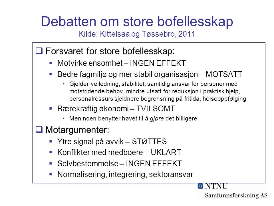 Debatten om store bofellesskap Kilde: Kittelsaa og Tøssebro, 2011  Forsvaret for store bofellesskap :  Motvirke ensomhet – INGEN EFFEKT  Bedre fagm