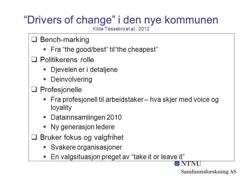 """""""Drivers of change"""" i den nye kommunen Kilde Tøssebro et al., 2012  Bench-marking  Fra """"the good/best"""" til""""the cheapest""""  Politikerens rolle  Djev"""