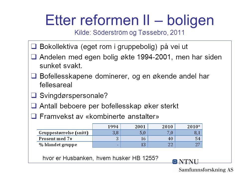 Etter reformen II – boligen Kilde: Söderström og Tøssebro, 2011  Bokollektiva (eget rom i gruppebolig) på vei ut  Andelen med egen bolig økte 1994-2001, men har siden sunket svakt.