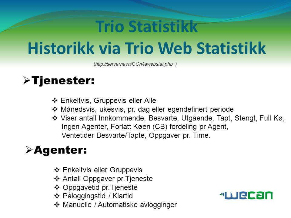 Trio Statistikk Historikk via Trio Web Statistikk (http://servernavn/CCn/tawebstat.php )  Tjenester:  Enkeltvis, Gruppevis eller Alle  Månedsvis, u