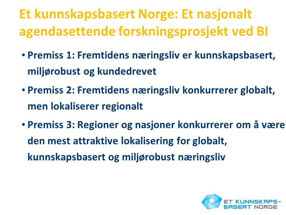 Et kunnskapsbasert Norge: Et nasjonalt agendasettende forskningsprosjekt ved BI • Premiss 1: Fremtidens næringsliv er kunnskapsbasert, miljørobust og