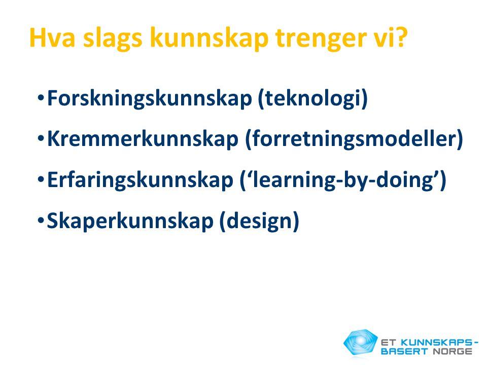 Hva slags kunnskap trenger vi? • Forskningskunnskap (teknologi) • Kremmerkunnskap (forretningsmodeller) • Erfaringskunnskap ('learning-by-doing') • Sk