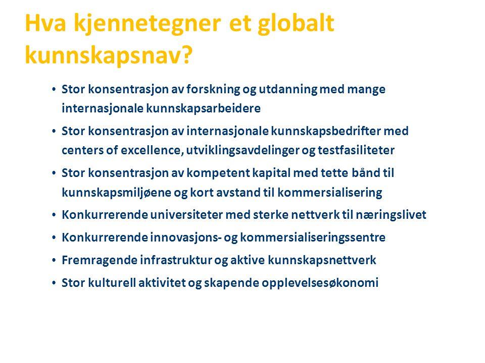 Hva kjennetegner et globalt kunnskapsnav? • Stor konsentrasjon av forskning og utdanning med mange internasjonale kunnskapsarbeidere • Stor konsentras