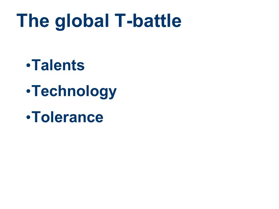 The global T-battle • Talents • Technology • Tolerance