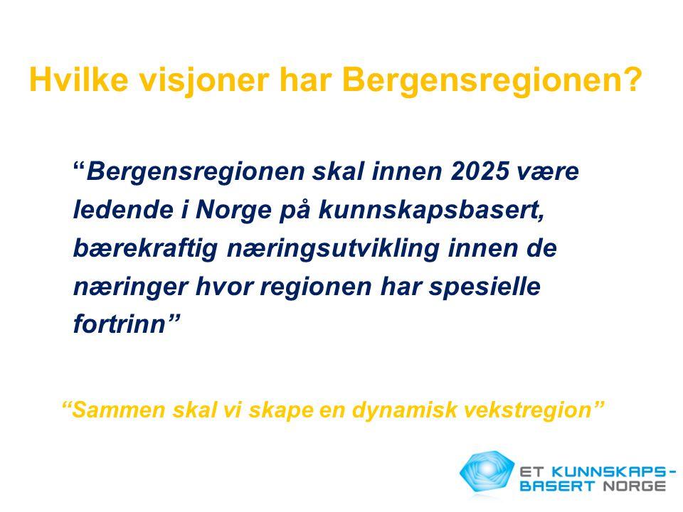 """Hvilke visjoner har Bergensregionen? """"Bergensregionen skal innen 2025 være ledende i Norge på kunnskapsbasert, bærekraftig næringsutvikling innen de n"""
