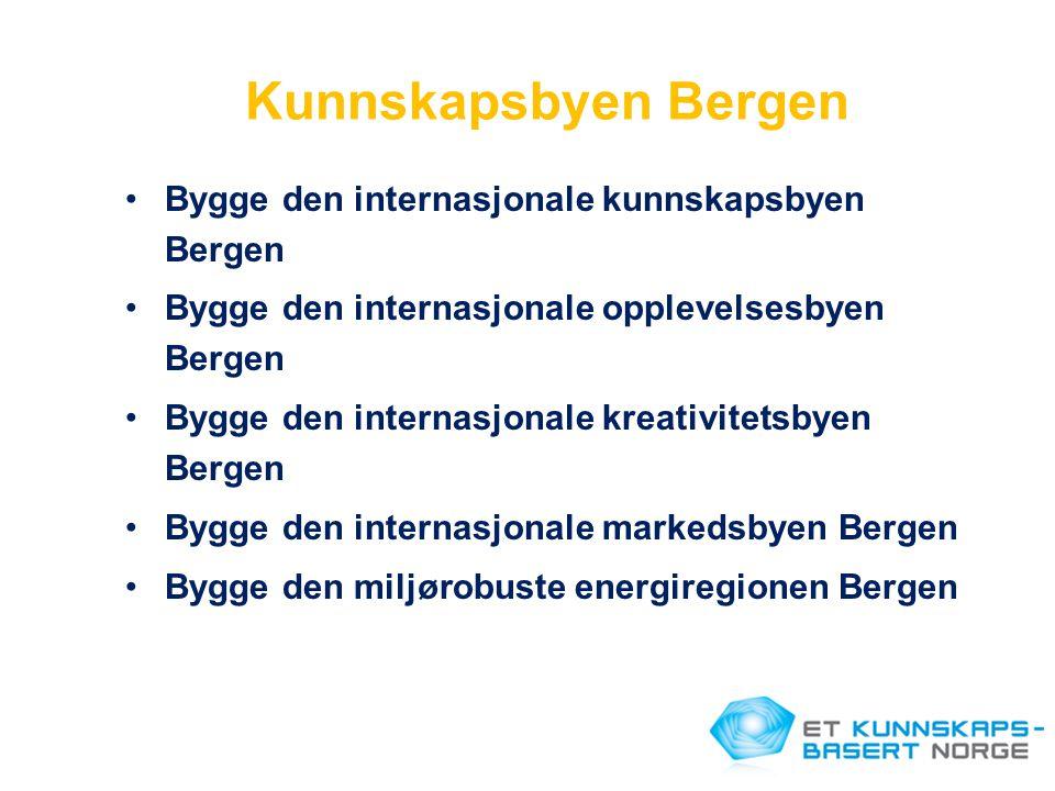 Kunnskapsbyen Bergen •Bygge den internasjonale kunnskapsbyen Bergen •Bygge den internasjonale opplevelsesbyen Bergen •Bygge den internasjonale kreativ