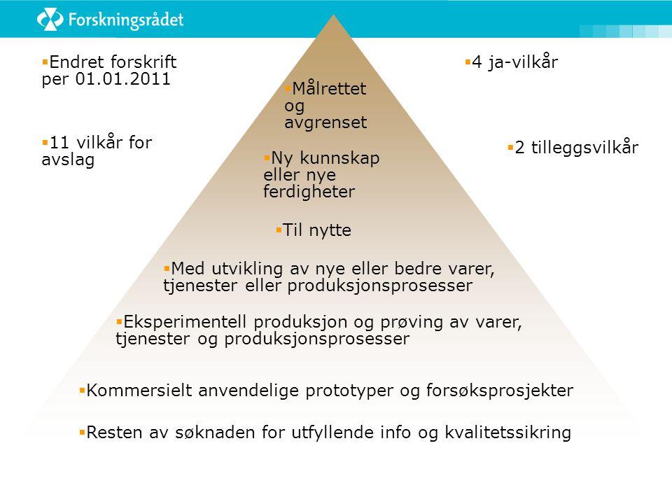  Endret forskrift per 01.01.2011  11 vilkår for avslag  4 ja-vilkår  Målrettet og avgrenset  Ny kunnskap eller nye ferdigheter  Til nytte  Med