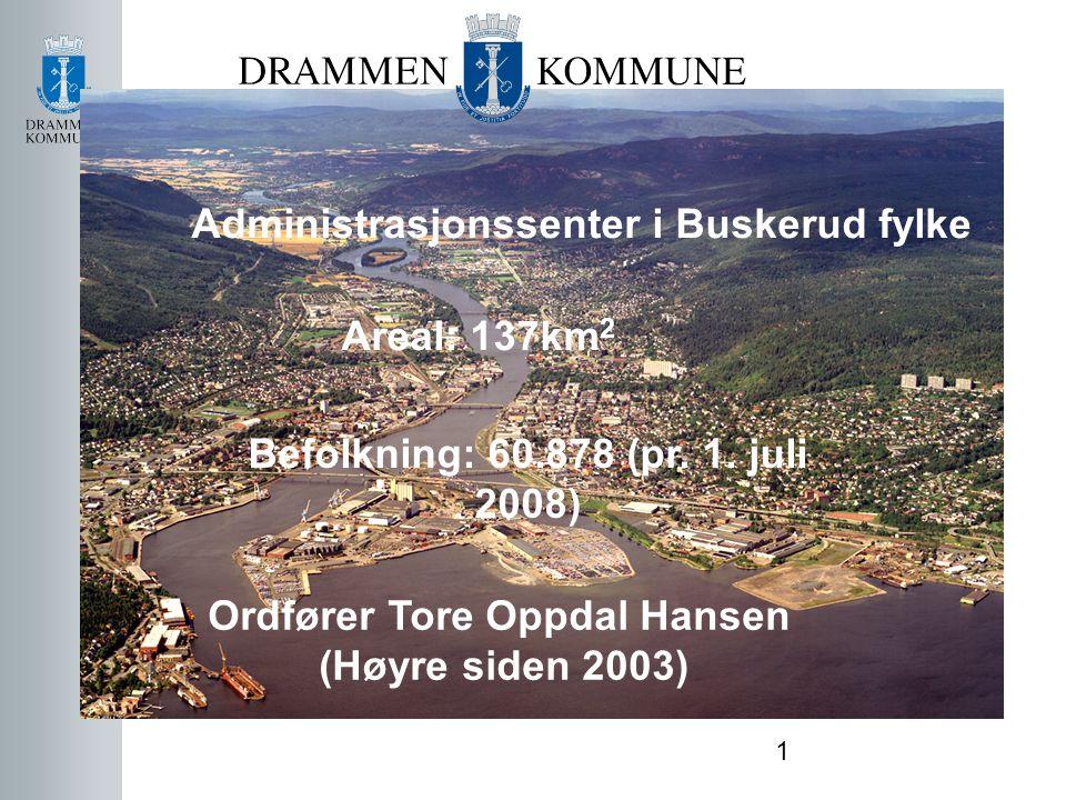 1 Administrasjonssenter i Buskerud fylke Areal: 137km 2 Befolkning: 60.878 (pr. 1. juli 2008) Ordfører Tore Oppdal Hansen (Høyre siden 2003)