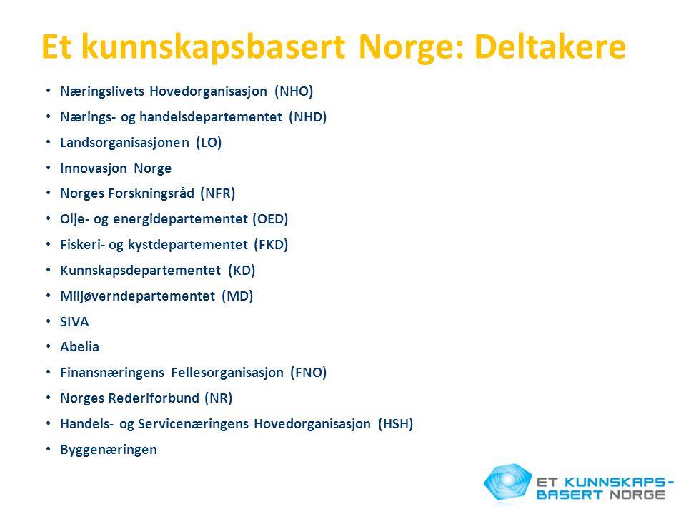 Et kunnskapsbasert Norge: Deltakere • Næringslivets Hovedorganisasjon (NHO) • Nærings- og handelsdepartementet (NHD) • Landsorganisasjonen (LO) • Inno