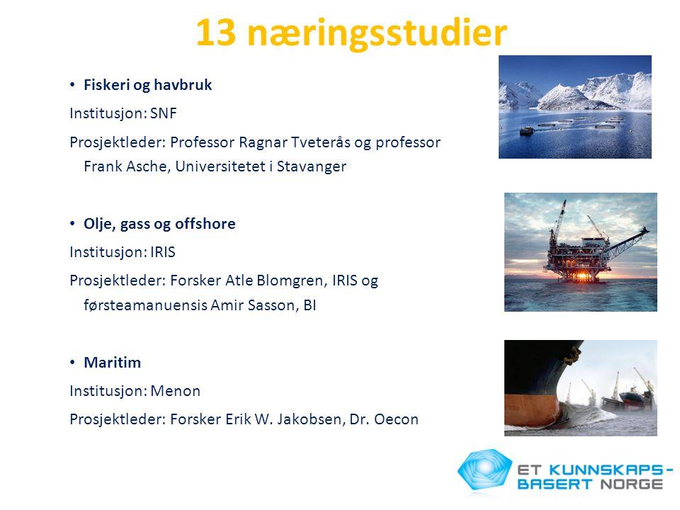 13 næringsstudier • Fiskeri og havbruk Institusjon: SNF Prosjektleder: Professor Ragnar Tveterås og professor Frank Asche, Universitetet i Stavanger •