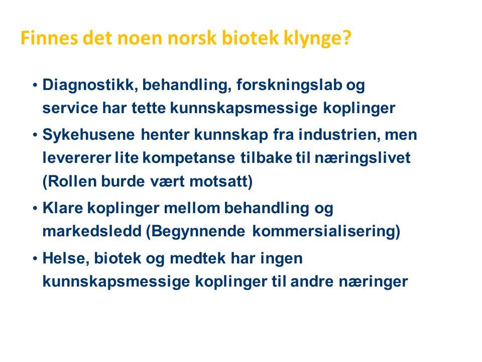 Finnes det noen norsk biotek klynge? • Diagnostikk, behandling, forskningslab og service har tette kunnskapsmessige koplinger • Sykehusene henter kunn