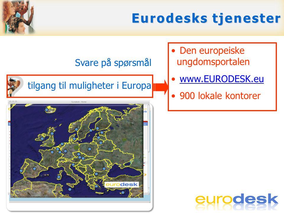 Svare på spørsmål Gi tilgang til muligheter i Europa Skape europeisk bevissthet Opplæring, support og nettverksbygging • Den europeiske ungdomsportalen • www.EURODESK.euwww.EURODESK.eu • 900 lokale kontorer Eurodesks tjenester