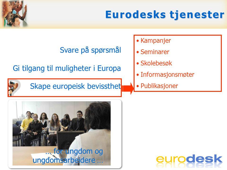 Svare på spørsmål Gi tilgang til muligheter i Europa Skape europeisk bevissthet Opplæring, support og nettverksbygging Eurodesks tjenester •Kampanjer •Seminarer •Skolebesøk •Informasjonsmøter •Publikasjoner … for ungdom og ungdomsarbeidere …