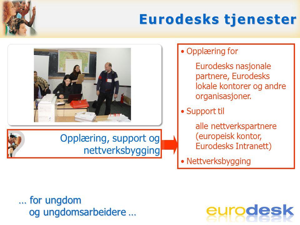 Svare på spørsmål Gi tilgang til muligheter i Europa Skape europeisk bevissthet Opplæring, support og nettverksbygging •Opplæring for Eurodesks nasjonale partnere, Eurodesks lokale kontorer og andre organisasjoner.