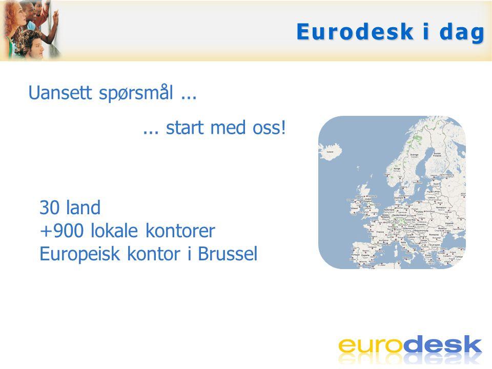 Eurodesks utvikling 1990: Lansering i Skottland 1991 -1994: Nettverk i Storbritannia 1994 -1995: Europeisk pilotprosjekt 1995: Europeisk nettverk 2004: Del av EUs ungdomsprogram 2007: Del av det nye Aktiv Ungdom-programmet