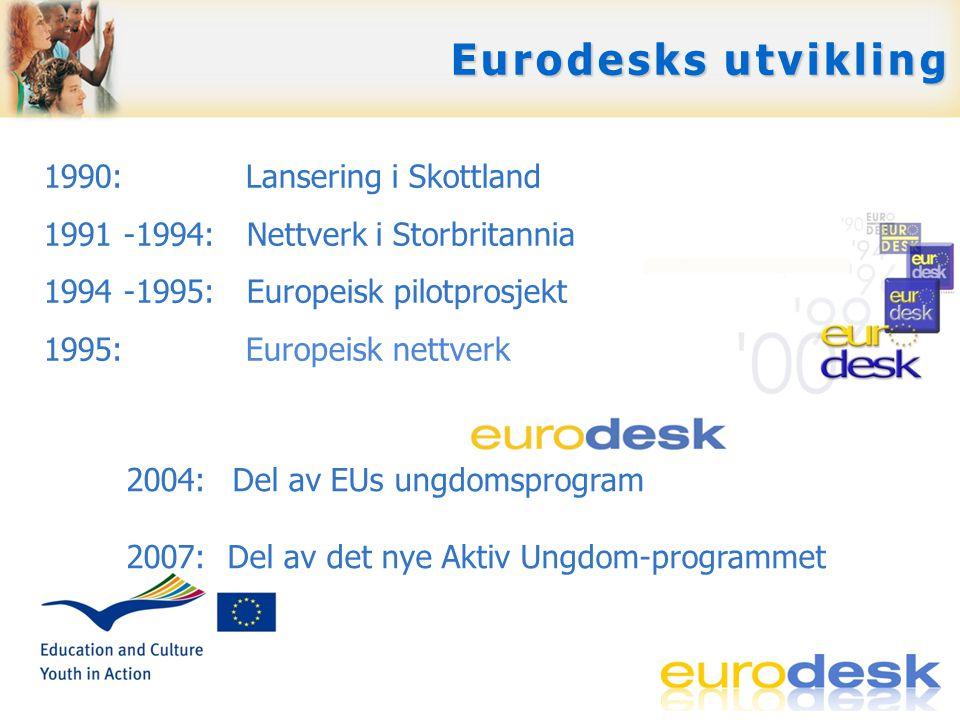 Svare på spørsmål Gi tilgang til muligheter i Europa Skape europeisk bevissthet Opplæring, support og nettverksbygging … for ungdom og ungdomsarbeidere … … for ungdom og ungdomsarbeidere … Eurodesks tjenester