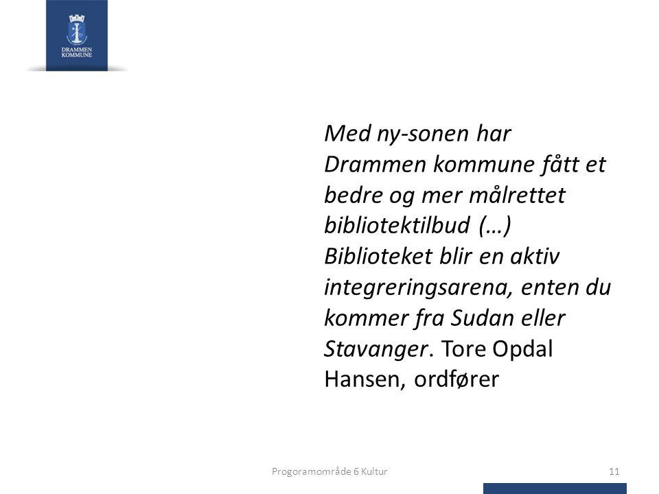 Med ny-sonen har Drammen kommune fått et bedre og mer målrettet bibliotektilbud (…) Biblioteket blir en aktiv integreringsarena, enten du kommer fra Sudan eller Stavanger.
