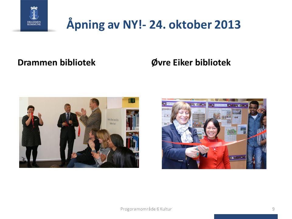 Åpning av NY!- 24. oktober 2013 Drammen bibliotekØvre Eiker bibliotek Progoramområde 6 Kultur9