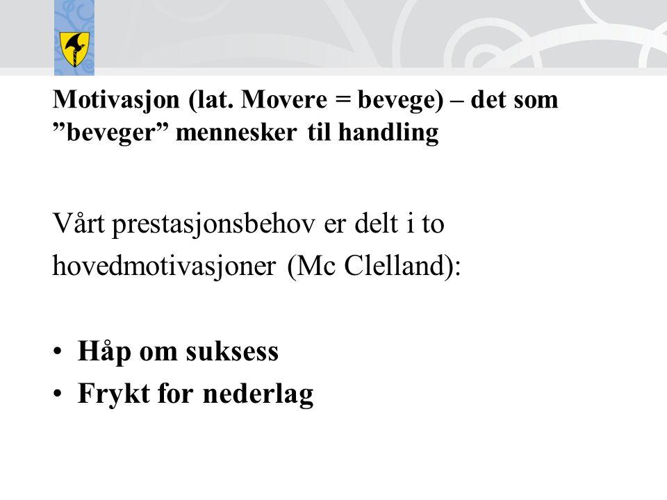 """Motivasjon (lat. Movere = bevege) – det som """"beveger"""" mennesker til handling Vårt prestasjonsbehov er delt i to hovedmotivasjoner (Mc Clelland): •Håp"""