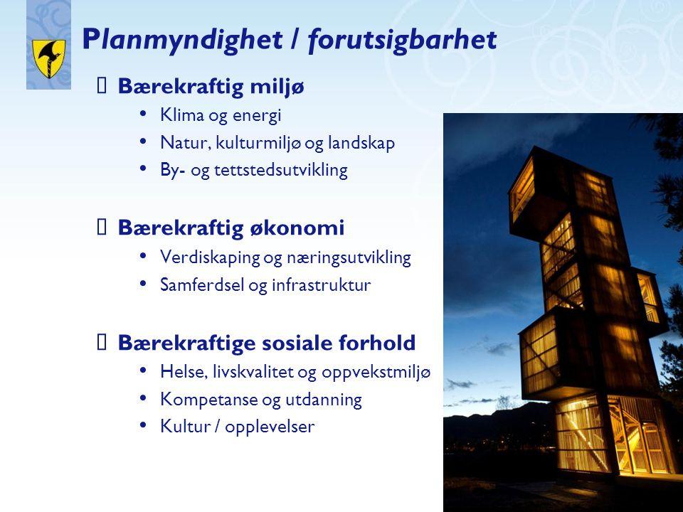 Planmyndighet / forutsigbarhet  Bærekraftig miljø • Klima og energi • Natur, kulturmiljø og landskap • By- og tettstedsutvikling  Bærekraftig økonom
