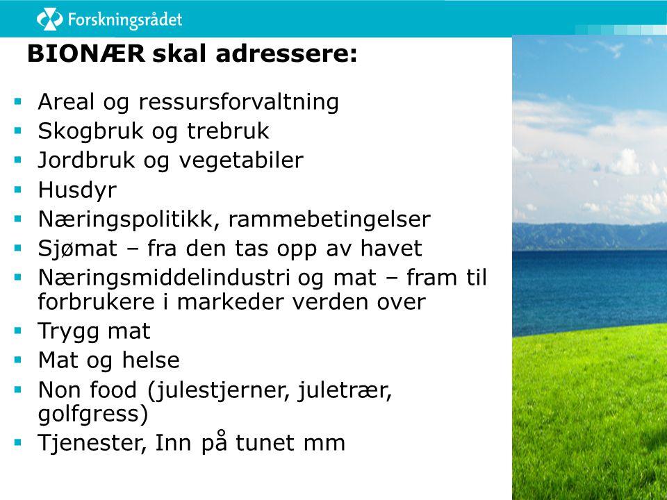 BIONÆR skal adressere:  Areal og ressursforvaltning  Skogbruk og trebruk  Jordbruk og vegetabiler  Husdyr  Næringspolitikk, rammebetingelser  Sj