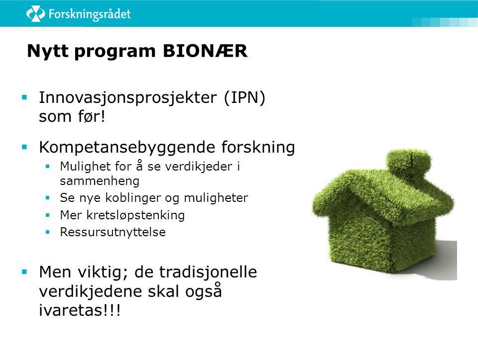 Nytt program BIONÆR  Innovasjonsprosjekter (IPN) som før!  Kompetansebyggende forskning  Mulighet for å se verdikjeder i sammenheng  Se nye koblin