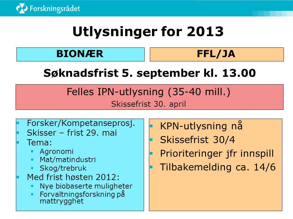 Utlysninger for 2013 BIONÆRFFL/JA  Forsker/Kompetanseprosj.  Skisser – frist 29. mai  Tema:  Agronomi  Mat/matindustri  Skog/trebruk  Med frist