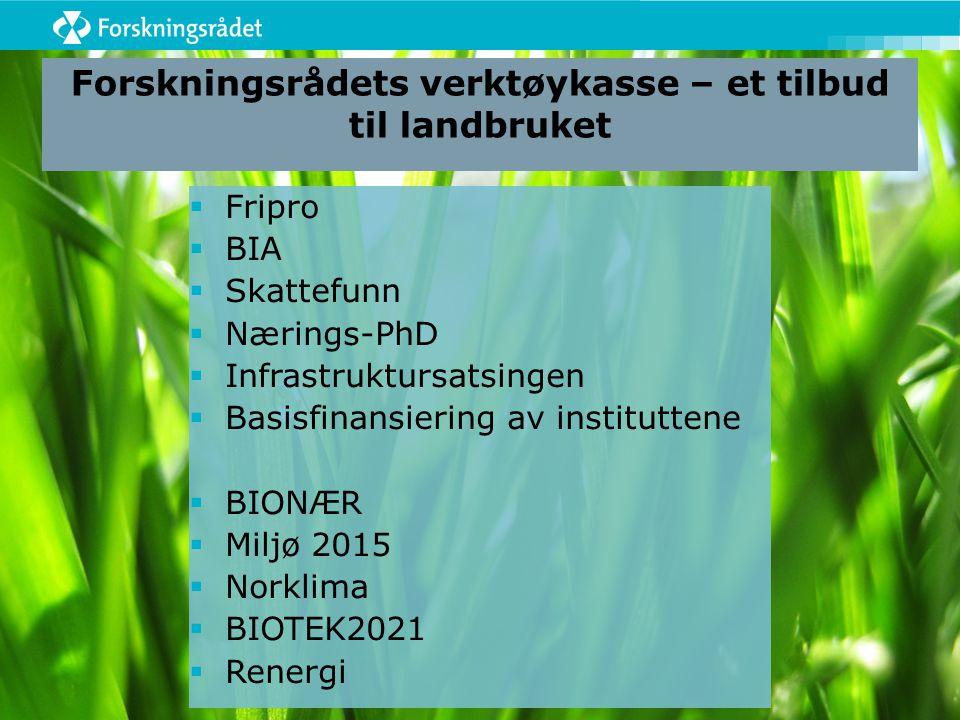 Forskningsrådets verktøykasse – et tilbud til landbruket  Fripro  BIA  Skattefunn  Nærings-PhD  Infrastruktursatsingen  Basisfinansiering av ins