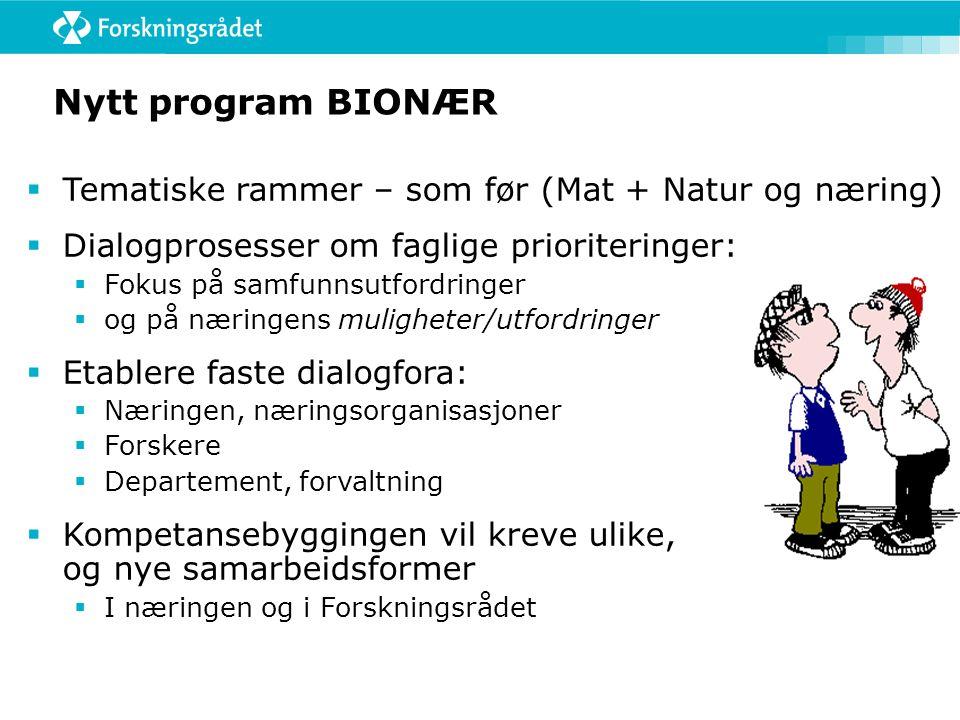 Nytt program BIONÆR  Tematiske rammer – som før (Mat + Natur og næring)  Dialogprosesser om faglige prioriteringer:  Fokus på samfunnsutfordringer