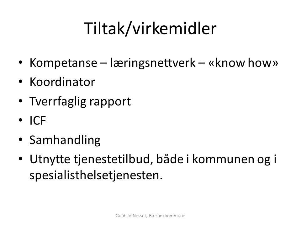 Tiltak/virkemidler • Kompetanse – læringsnettverk – «know how» • Koordinator • Tverrfaglig rapport • ICF • Samhandling • Utnytte tjenestetilbud, både