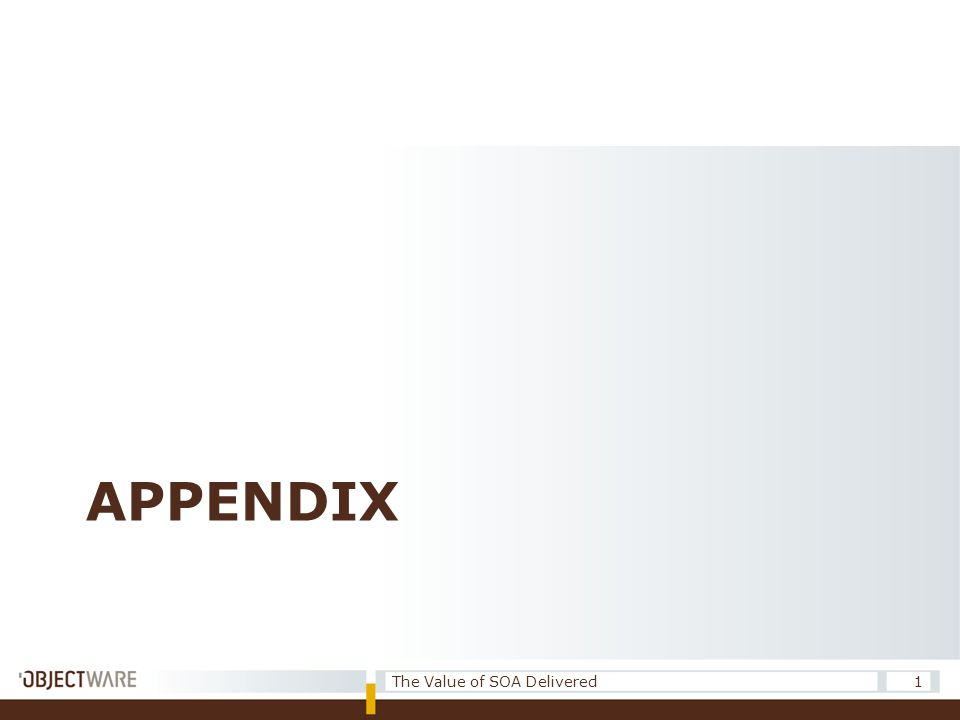 APPENDIX 1The Value of SOA Delivered