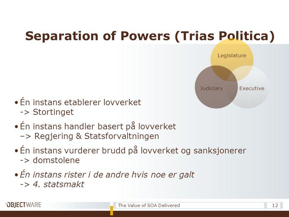 Separation of Powers (Trias Politica) •Én instans etablerer lovverket -> Stortinget •Én instans handler basert på lovverket –> Regjering & Statsforvaltningen •Én instans vurderer brudd på lovverket og sanksjonerer -> domstolene •Én instans rister i de andre hvis noe er galt -> 4.