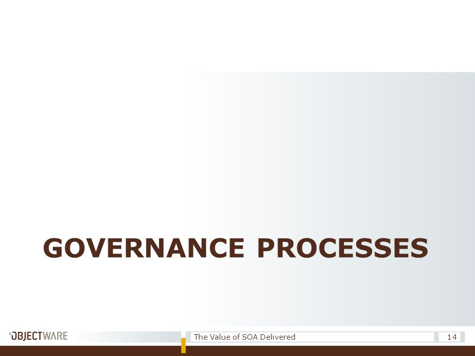 GOVERNANCE PROCESSES 14The Value of SOA Delivered