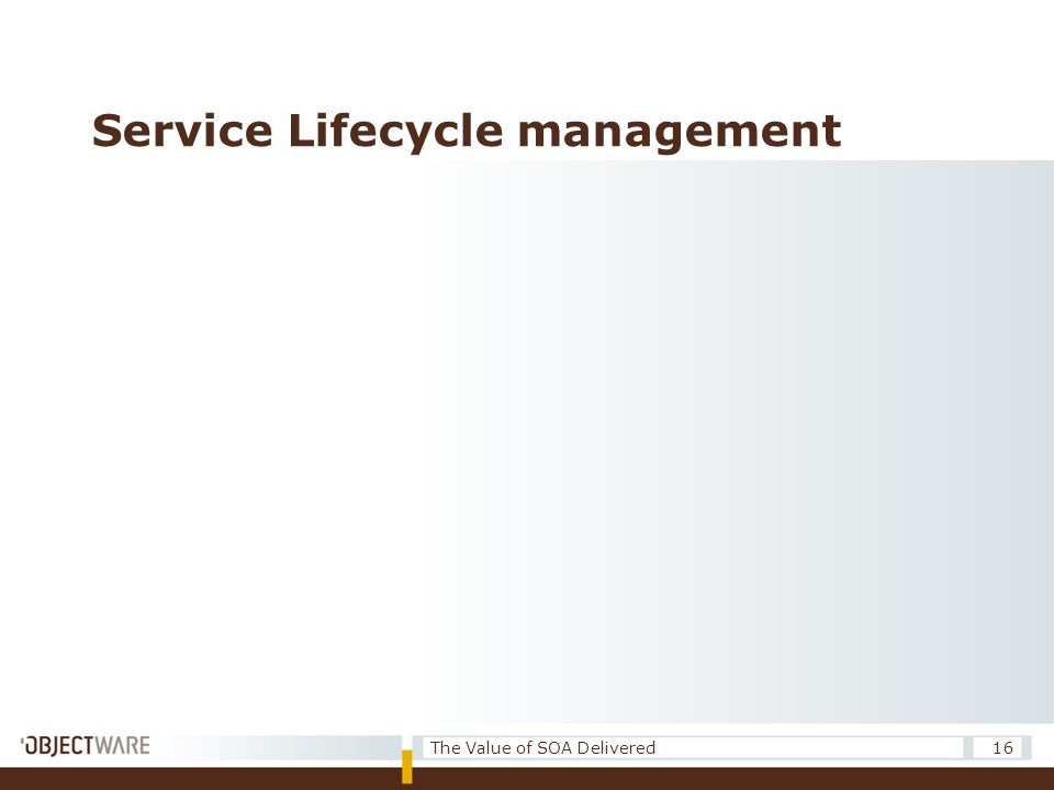Service Lifecycle management 16The Value of SOA Delivered