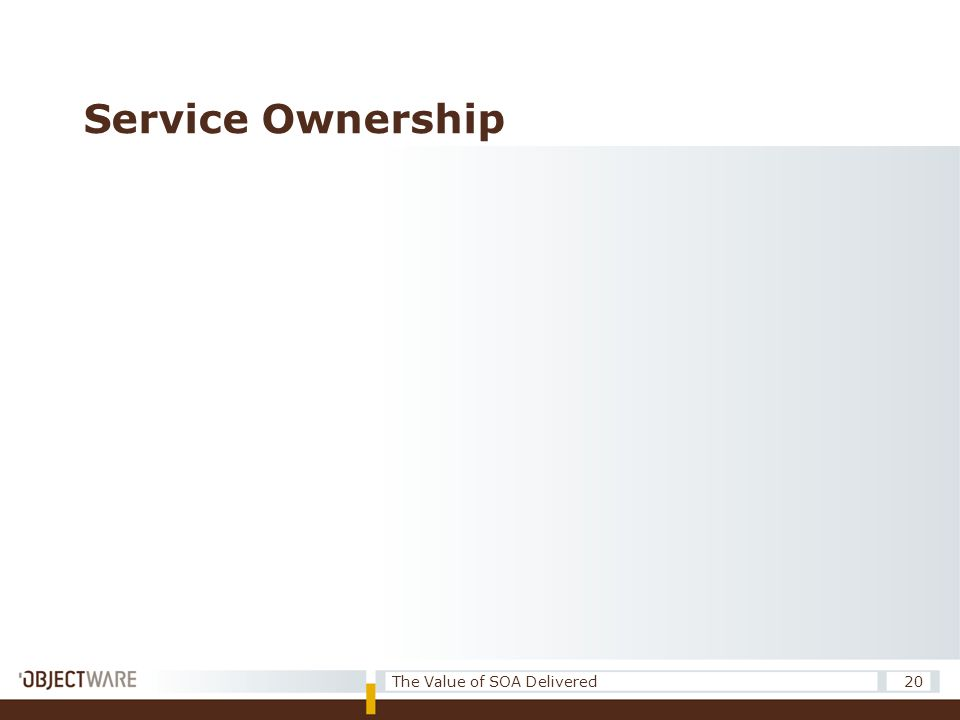 Service Ownership 20The Value of SOA Delivered