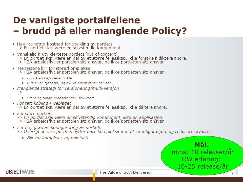 De vanligste portalfellene – brudd på eller manglende Policy? •Høy roundtrip-kostnad for utvikling av portlets -> En portlet skal være en selvstendig