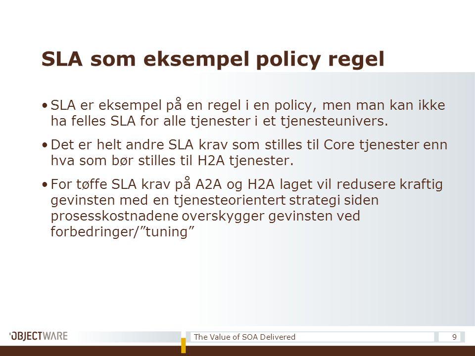 SLA som eksempel policy regel •SLA er eksempel på en regel i en policy, men man kan ikke ha felles SLA for alle tjenester i et tjenesteunivers.