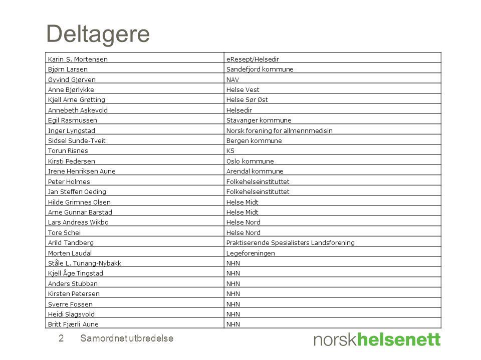 Samordnet utbredelse2 Deltagere Karin S. MortenseneResept/Helsedir Bjørn LarsenSandefjord kommune Øyvind GjørvenNAV Anne BjørlykkeHelse Vest Kjell Arn