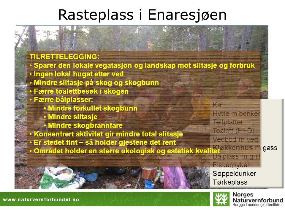 www.naturvernforbundet.no Norgga Luonddugáhttenlihttu Rasteplass i Enaresjøen Kai Hytte m benker Teltplatter Toalett (H+D) Vedbod m ved Kjøkkenhus m gass Bålplass m grill Fiskerøyker Søppeldunker Tørkeplass TILRETTELEGGING: • Sparer den lokale vegatasjon og landskap mot slitasje og forbruk • Ingen lokal hugst etter ved • Mindre slitasje på skog og skogbunn • Færre toalettbesøk i skogen • Færre bålplasser: • Mindre forkullet skogbunn • Mindre slitasje • Mindre skogbrannfare • Konsentrert aktivitet gir mindre total slitasje • Er stedet fint – så holder gjestene det rent • Området holder en større økologisk og estetisk kvalitet TILRETTELEGGING: • Sparer den lokale vegatasjon og landskap mot slitasje og forbruk • Ingen lokal hugst etter ved • Mindre slitasje på skog og skogbunn • Færre toalettbesøk i skogen • Færre bålplasser: • Mindre forkullet skogbunn • Mindre slitasje • Mindre skogbrannfare • Konsentrert aktivitet gir mindre total slitasje • Er stedet fint – så holder gjestene det rent • Området holder en større økologisk og estetisk kvalitet