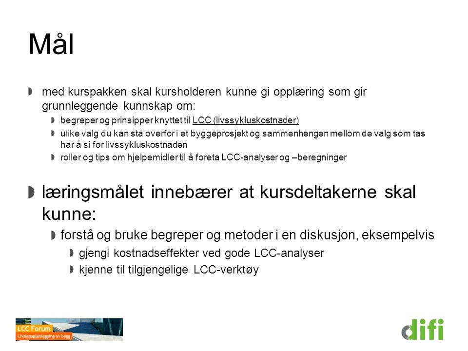 Oppsummering Livssykluskostnad, LCC Årskostnad