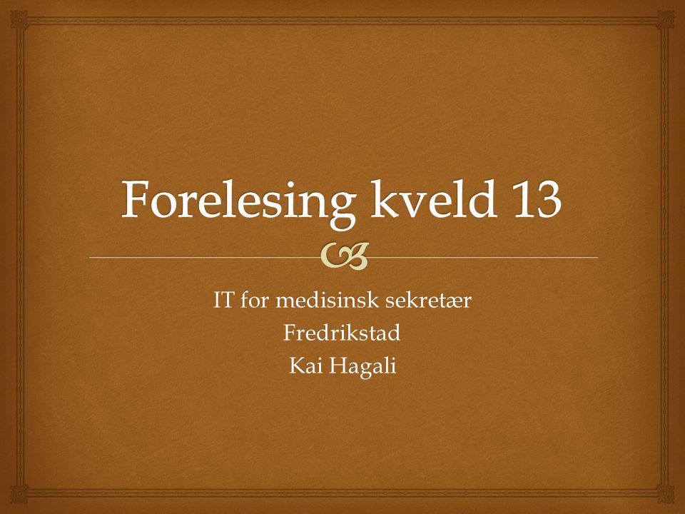 IT for medisinsk sekretær Fredrikstad Kai Hagali