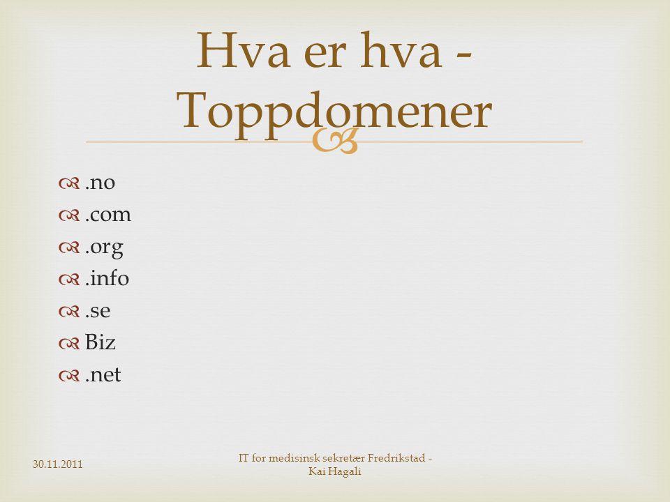  .no .com .org .info .se  Biz .net Hva er hva - Toppdomener 30.11.2011 IT for medisinsk sekretær Fredrikstad - Kai Hagali