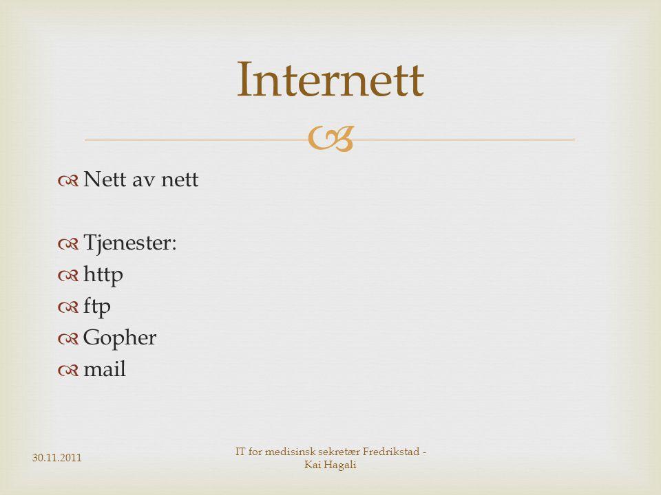   Nett av nett  Tjenester:  http  ftp  Gopher  mail Internett 30.11.2011 IT for medisinsk sekretær Fredrikstad - Kai Hagali