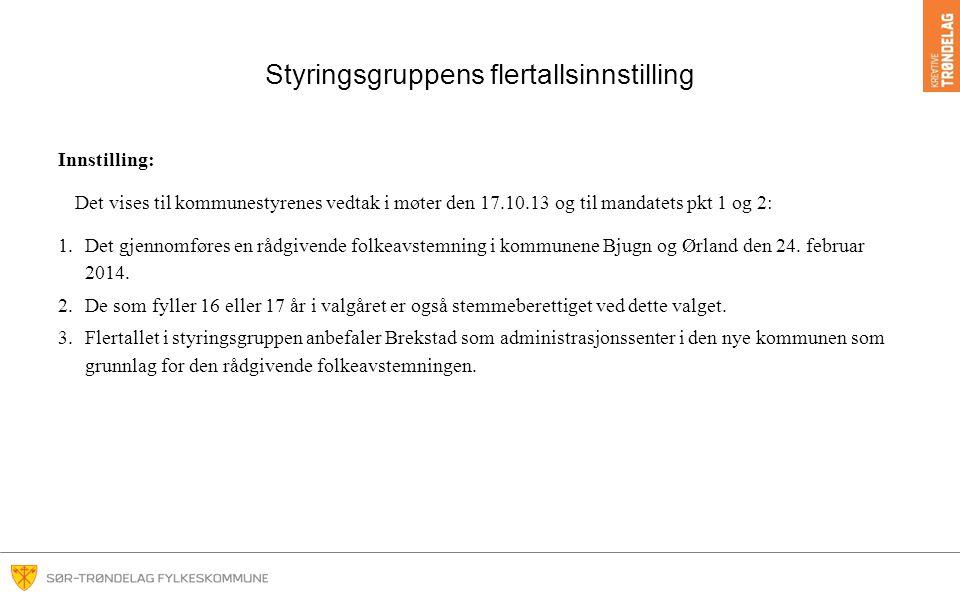 Styringsgruppens flertallsinnstilling Innstilling: Det vises til kommunestyrenes vedtak i møter den 17.10.13 og til mandatets pkt 1 og 2: 1.Det gjennomføres en rådgivende folkeavstemning i kommunene Bjugn og Ørland den 24.