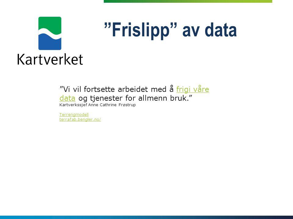 """""""Frislipp"""" av data """"Vi vil fortsette arbeidet med å frigi våre data og tjenester for allmenn bruk."""" Kartverkssjef Anne Cathrine Frøstrupfrigi våre dat"""