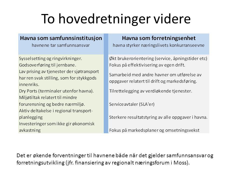 To hovedretninger videre Det er økende forventninger til havnene både når det gjelder samfunnsansvar og forretningsutvikling (jfr. finansiering av reg