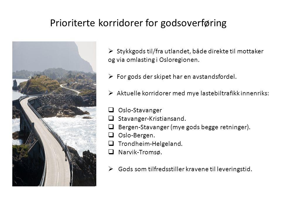 Prioriterte korridorer for godsoverføring  Stykkgods til/fra utlandet, både direkte til mottaker og via omlasting i Osloregionen.  For gods der skip
